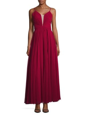 Sleeveless Lace-Up Fit-and-Flare Gown by Betsy & Adam