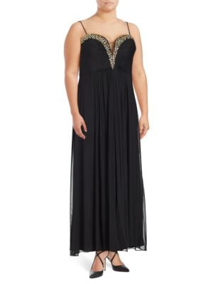 Embellished Pleated A-Line Gown by Betsy & Adam