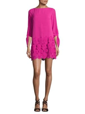 Solid Floral-Motif Shift Dress by Tahari Arthur S. Levine