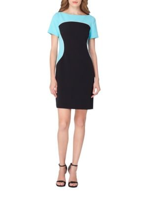 Colorblocked Short Sleeve Sheath Dress by Tahari Arthur S. Levine