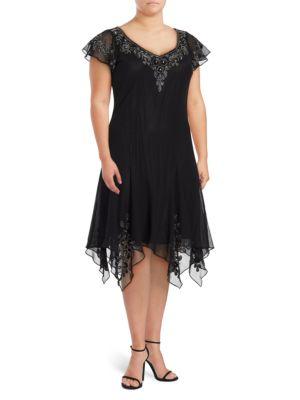 V-Neck Flutter-Sleeve Embellished Dress by J Kara