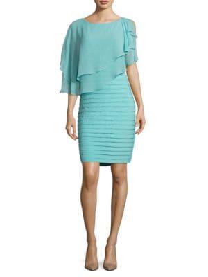 Chiffon-Overlay Sheath Dress by Adrianna Papell