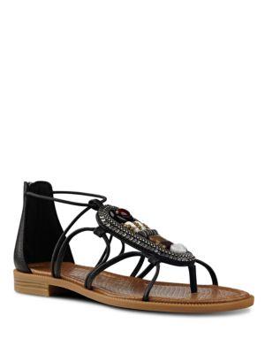 Photo of Grinning Embellished Leather Sandals by Nine West - shop Nine West shoes sales