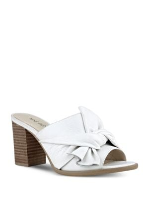 Byron Block Heel Leather Slide Sandals by Nine West