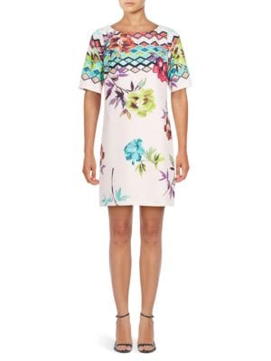 Printed Elbow-Length Sleeve Dress by Adrianna Papell
