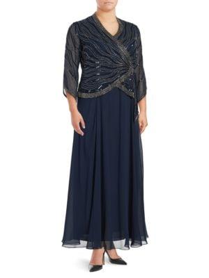 V-Neck Embellished Dress by J Kara