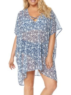 Crisscross Floral Printed Coverup by Jessica Simpson Plus