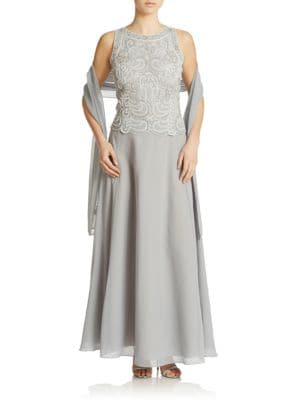 Beaded A-Lined Gown and Scarf Set by J Kara
