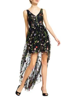 Embroidered Floral Hi-Lo Dress by Adrianna Papell