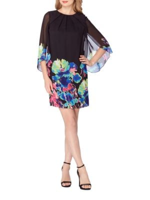 Floral Printed Tulip Sleeve Shift Dress by Tahari Arthur S. Levine