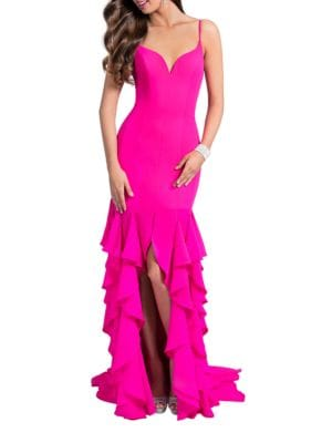 Solid Ruffle Gown by Glamour by Terani Couture