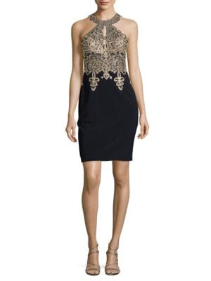 Embellished Halter Dress by Xscape