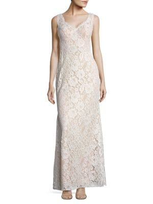 Sleeveless Lace Gown by Aidan Aidan Mattox