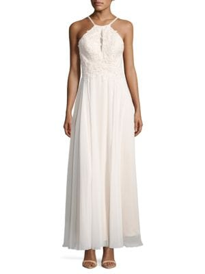 Rhinestone Soutache Chiffon A-Line Gown by Xscape