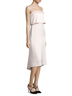 Strapless Popover Satin Dress by Halston Heritage