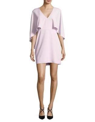 Flowy Cape V-Neck Crepe Dress by Halston Heritage
