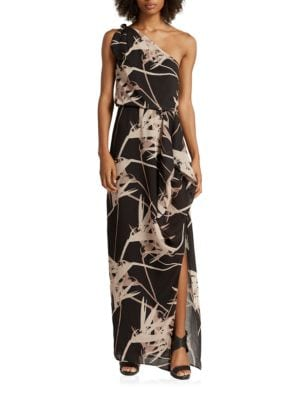 One-Shoulder Graphic Printed Gown by Halston Heritage