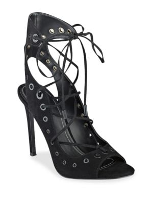 Deanna Eyelet Suede Lace-Up Sandals by KENDALL + KYLIE