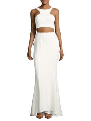 Knit Cropped Top and Ruffled Skirt Set by Xscape