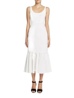 Solid Fitted Ruffled-Hem Dress by Jill Jill Stuart