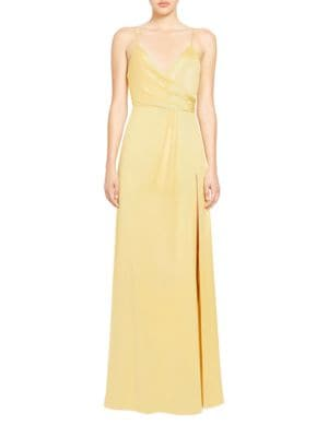 Solid Floor-Touching Surplice-Neckline Gown by Jill Jill Stuart
