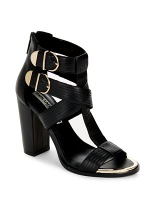 Leather Block-Heel Sandals by Karl Lagerfeld Paris