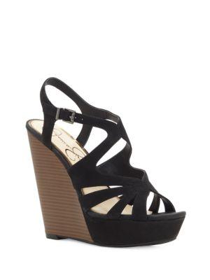 Brissah Caged Leather Wedge Platform Sandals 500034826784