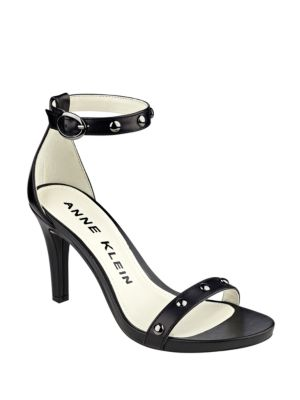 Ossana Studded Leather Ankle Strap Sandals by Anne Klein