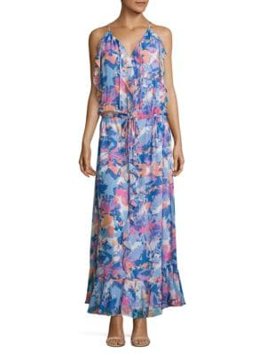 Printed Boho Ruffle Dress by Laundry by Shelli Segal