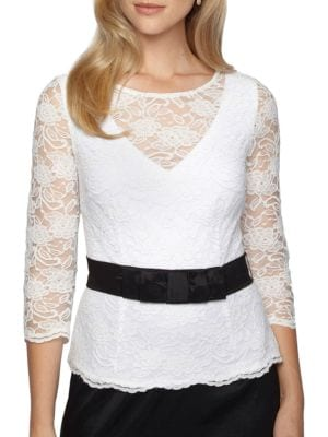Belted Floral-Lace Blouse by Alex Evenings