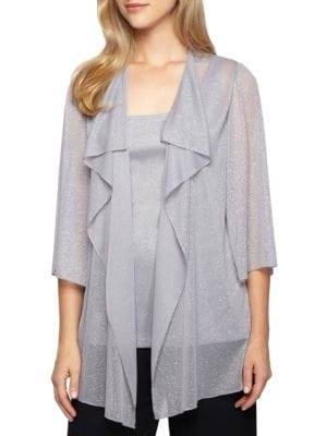 Two-Piece Cascade Ruffled Jacket and Tank by Alex Evenings