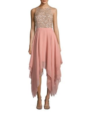 Embellished Handkerchief-Hem Dress by Aidan Aidan Mattox