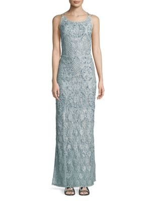 Embellished Lace Gown by Aidan Aidan Mattox