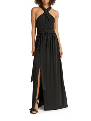 Cross Neck Jersey Gown by Halston Heritage