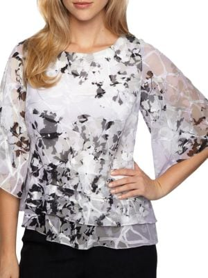 Printed Chiffon Tiered Blouse by Alex Evenings