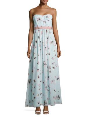 Floral Strapless Dress by BCBGMAXAZRIA