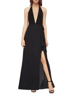 Mock-Wrap Halter Gown by BCBGMAXAZRIA