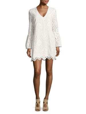 Bell-Sleeve Eyelet Tunic by Wayf