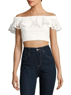 Cotton Lace Cropped Top by Wayf