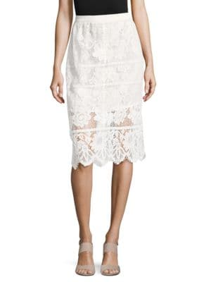 Floral-Lace Pencil Skirt by Wayf