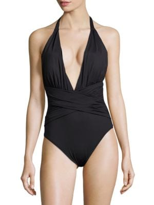 Solid Plunging-V-Neck Swimsuit by La Blanca