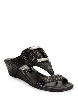 Snakeskin-Embossed Leather T-Strap Sandals by Donald J Pliner