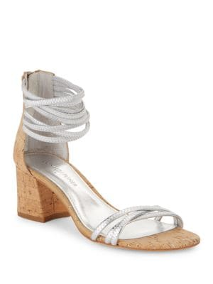 Essie Leather and Cork Sandals by Donald J Pliner