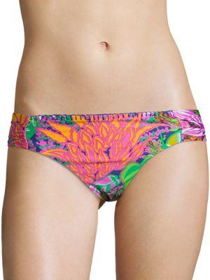 Topical Shirred Bikini Swim Bottoms by Trina Turk