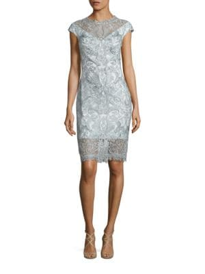 Cap Sleeve Lace Dress by Tadashi Shoji