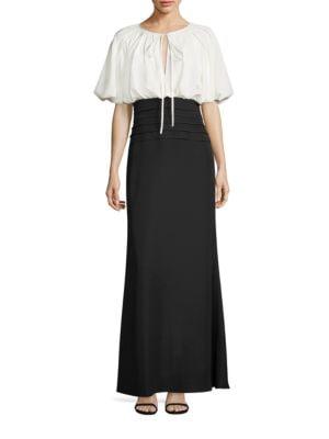 Colorblock A-Line Gown by Tadashi Shoji