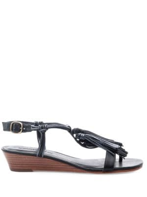 Court Leather Demi Wedge Sandals