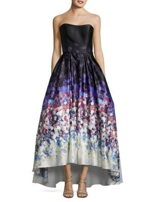 Watercolor Print Strapless Ball Gown by Betsy & Adam