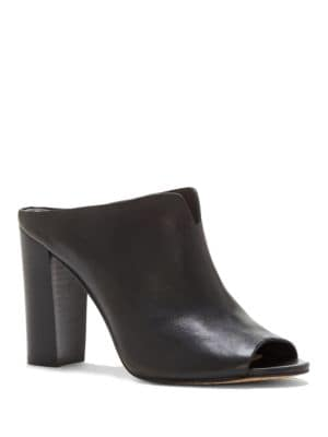 Sarina Leather Heeled Mule Slides by Vince Camuto