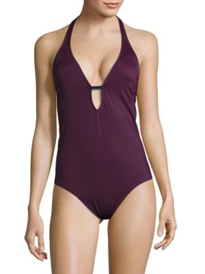 Solid Halter One-Piece Swimsuit by Nautica